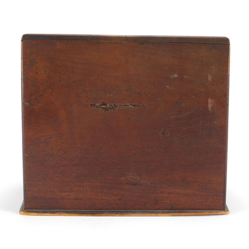 31 - Victorian oak and walnut slope front stationery box, with fitted interior and base drawer, 26cm H x ...