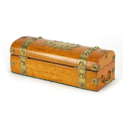 27 - Victorian dome topped satin wood pen box with brass mounts and twin handles, 9cm H x 26cm W x 10cm D...