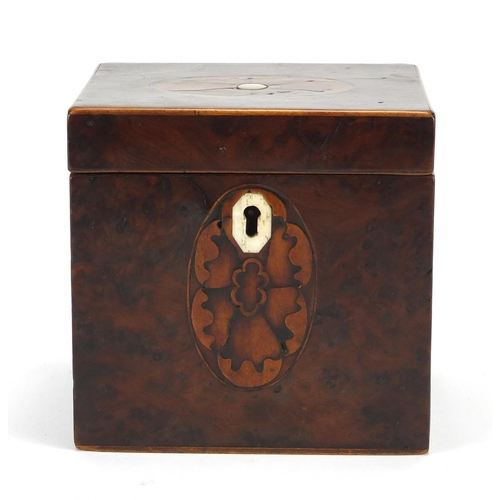 26 - Georgian birds eye maple inlaid tea caddy, 11cm H x 11cm W x 9.5cm D...