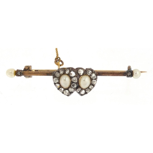 650 - Victorian unmarked gold pearl and diamond double love heart bar brooch, 4.5cm in length, approximate...