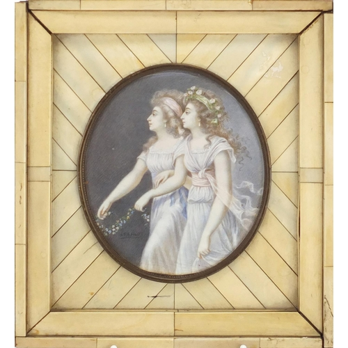 828 - Peter Adolf Hall - The Jennings sisters, 18th cetnury oval watercolour miniature housed in a section...