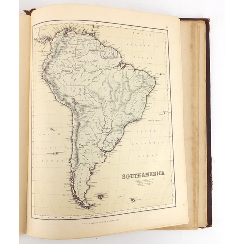 130 - Chambers's Atlas for the People, 19th century hardback book, published William & Robert Chambers Lon...
