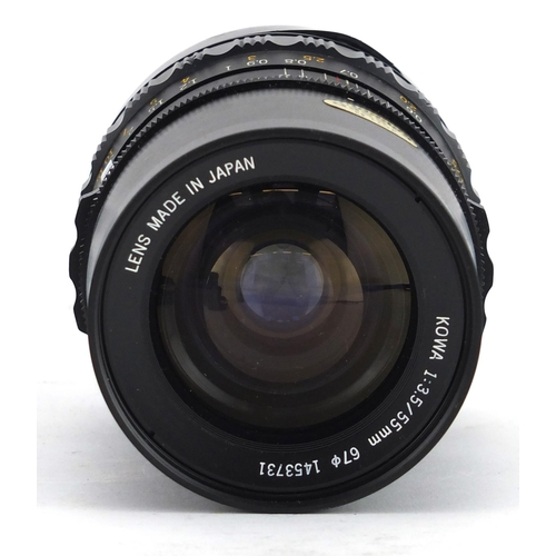 105 - Kowa Six MM camera with 1:3.5/55mm and 1:2.8/85 lenses, accessories and cases...