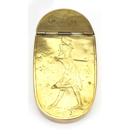 43 - 18th century oval brass snuff box engraved with 'Old Q', 10.5cm in length...