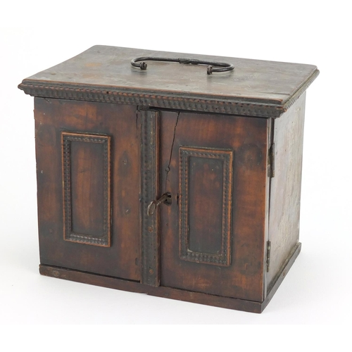 25 - Antique mahogany table cabinet and an oval Georgian copper tea caddy with lion mask handles, the tab...