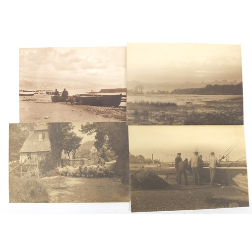 134 - Victorian and later black and white photographs and prints, including a family photograph by Frank M...