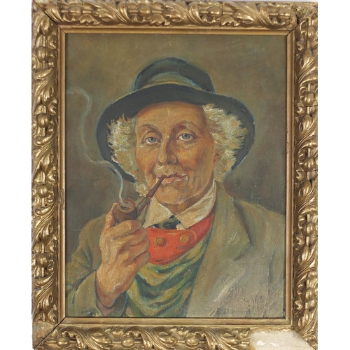 866 - Two portraits of gentleman smoking pipes, two German school oil on boards, one with label verso, fra...