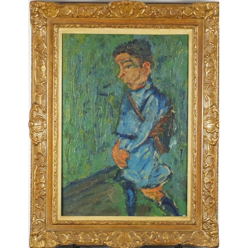 2035 - Young boy carrying a shoulder bag, oil on canvas, bearing a signature possibly Soutine, mounted and ...