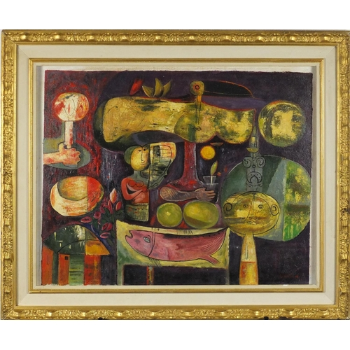 2039 - Surreal figures and animals, oil on canvas laid on board, bearing a signature possibly Cammgo, mount...