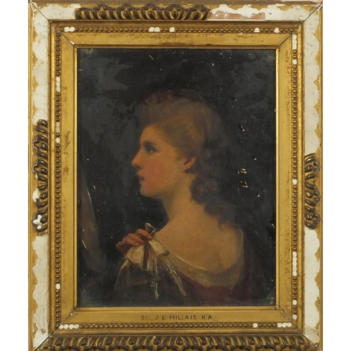 851 - John Everett Millais - Portrait of a young female, 19th century oil on canvas, mounted and framed, 2...