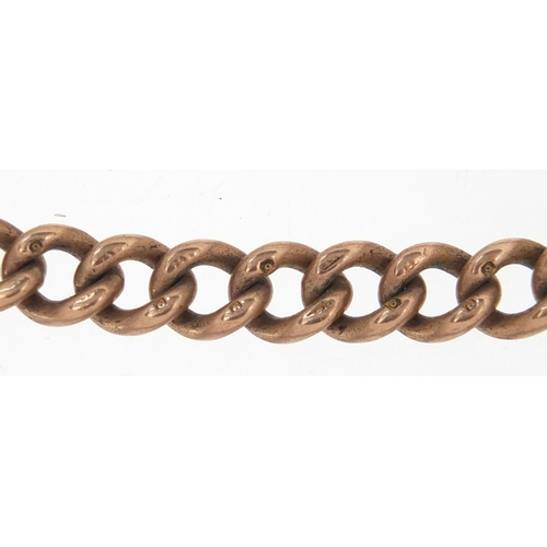 676 - 9ct rose gold watch chain with T-bar, 44cm in length, approximate weight 45.0g...