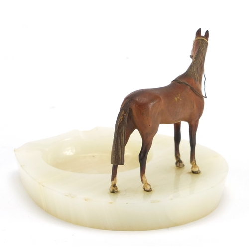 13 - Cold painted bronze and onyx horse design ashtray, 10cm high...