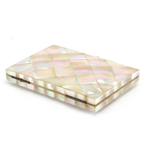 39 - Victorian mother of pearl concertina calling card case, with silver cartouche, 11cm x 7.6cm...