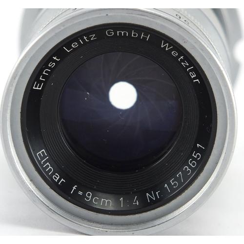 102 - Leica Elmar F=9cm 1:4 lens, numbered 1573651...