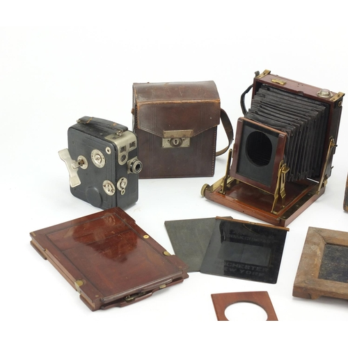 108 - 19th century mahogany plate camera by Thornton Pickard with leather case, and a Cine Nizo 8 camera...
