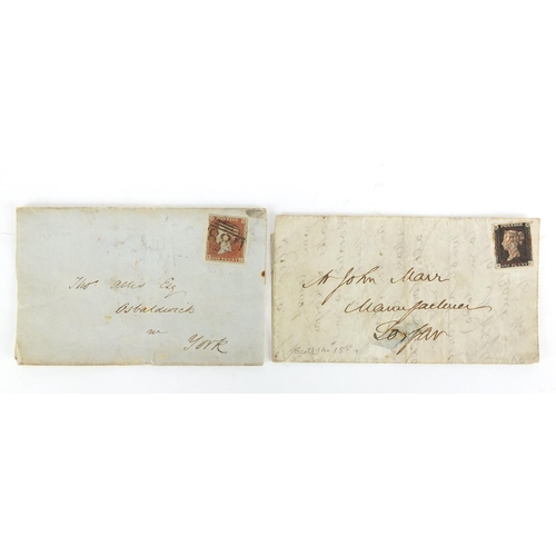 138 - 19th century postal history penny black and penny red covers, dated 1840 and 1853...
