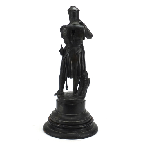 1 - W Beattie SC - William Wallace, patinated bronze figure raised on a circular black slate base, on eb...
