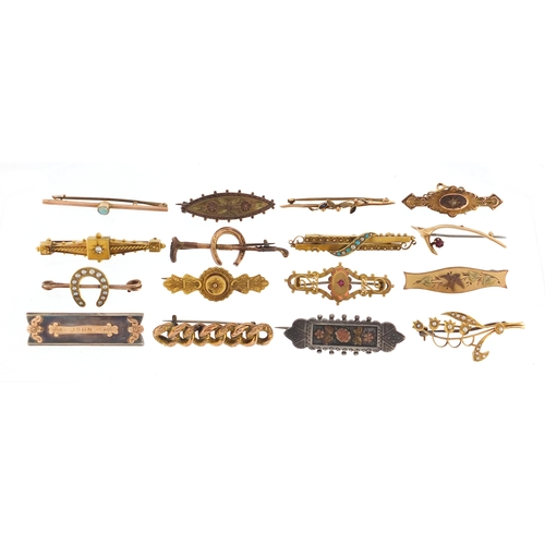 665 - Sixteen Victorian gold and silver bar brooches, some set with diamonds, ruby's, turquoise and seed p...