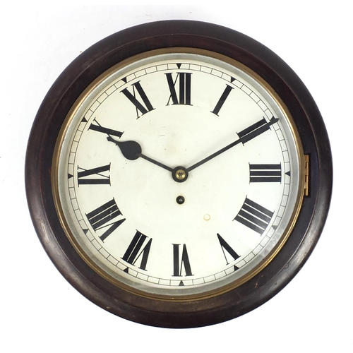 2005 - Victorian mahogany fusee wall clock with Roman numerals, 39.5cm in diameter...