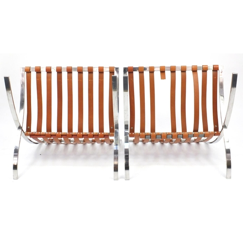 2001 - Pair of 1970's chrome Barcelona chairs, designed by Ludwig Mies van der Rohe and Lilly Reich, each 7...