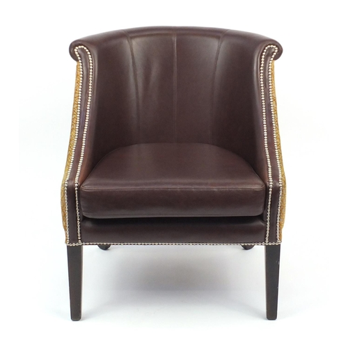 2003 - French Empire style Style Matters tub chair with brown leather upholstery, 86cm high...