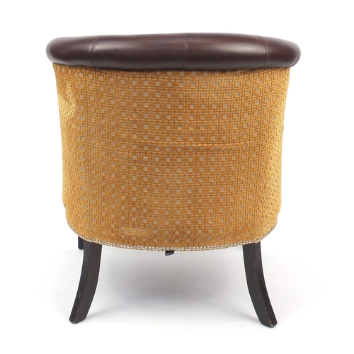 2004 - French Empire style Style Matters tub chair with brown leather upholstery, 86cm high...