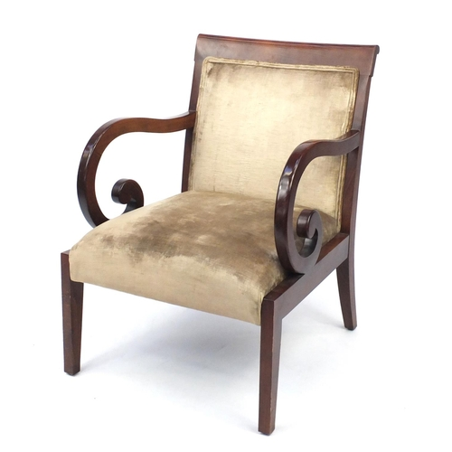 2007 - Regency style mahogany framed open armchair with scrolled arms, 86.5cm high...