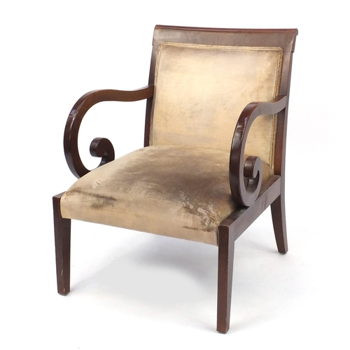 2008 - Regency style mahogany framed open armchair with scrolled arms, 86.5cm high...