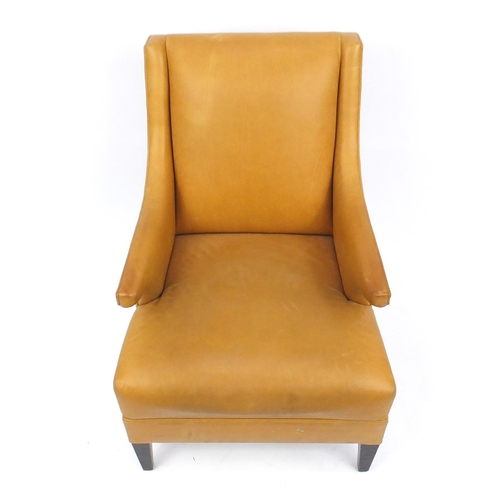 2012 - French style leather armchair on square tapering legs, 93cm high...