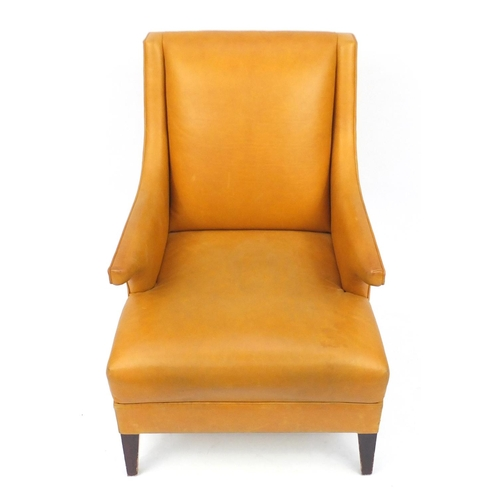 2013 - French style leather armchair on square tapering legs, 93cm high...