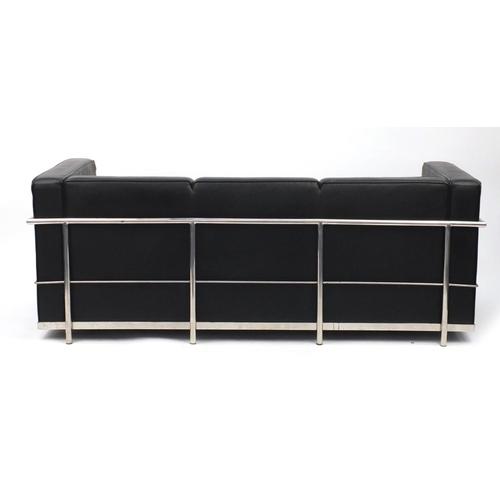2015 - Le Corbusier design three seater chrome and black leather settee, 66.5cm H x 180cm W x 73cm D...