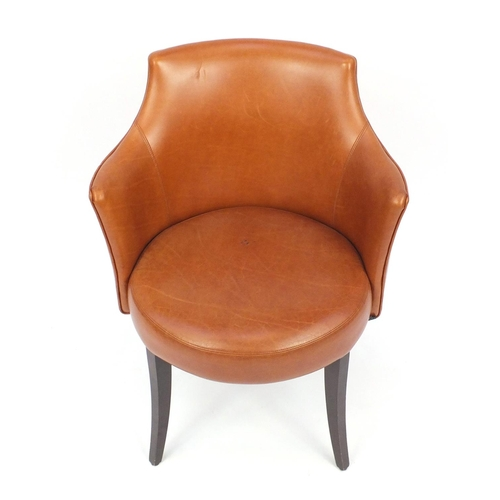 2019 - Contemporary Morgan brown leather chair on out swept tapering legs, 82cm high...