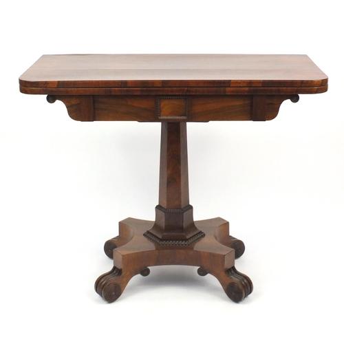 2022 - Georgian rosewood folding card table, 73cm H x 92cm W x 45cm D (folded)...