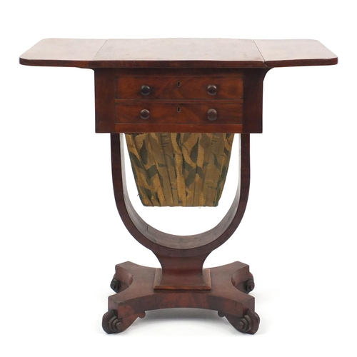 2025 - Early Victorian mahogany work table, fitted with two drawers and sliding bag, raised on kurnl feet, ...