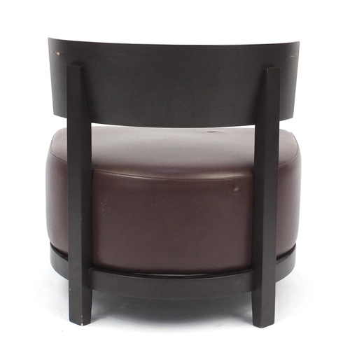 2040 - Contemporary RHA reception chair with brown leather seat, 74cm high...