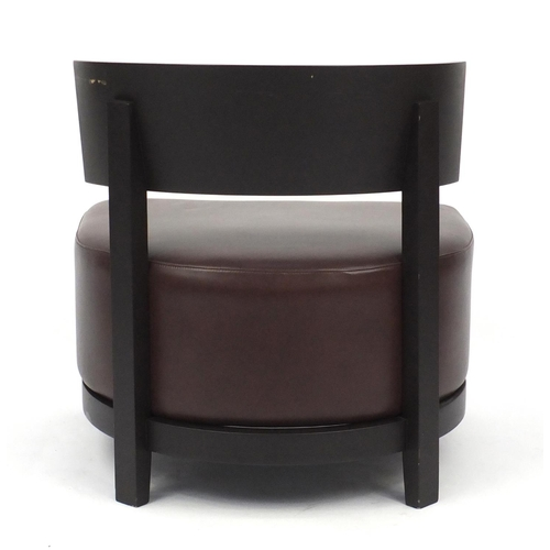 2041 - Contemporary RHA reception chair with brown leather seat, 74cm high...