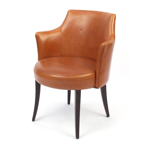 2049 - Contemporary Morgan brown leather chair on out swept tapering legs, 82cm high...