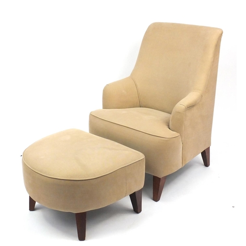 2056 - Contemporary beige high back open armchair with stool on square tapering legs, 103cm high...