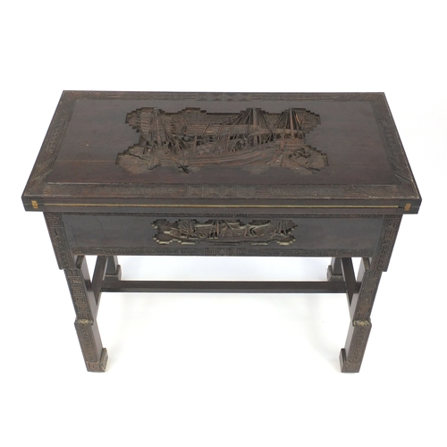 2054 - Chinese hardwood folding card table with carved with figures on a boat, 78cm H x 91cm W x 45.5cm D (...