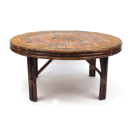 2044 - Roger Capron Vallauris tile topped bamboo table, 51.5cm high x 110cm in diameter...