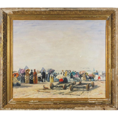 2225 - Figures on a beach, French impressionist oil on board, bearing a signature possibly E Boudin, mounte...