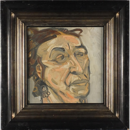 2224 - Head study, impressionist oil on board, bearing a signature L Freud verso, mounted and framed, 33cm ...