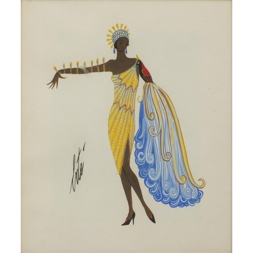 2117 - After Erté - Costume design, gouache, framed, 30cm x 25.5cm...