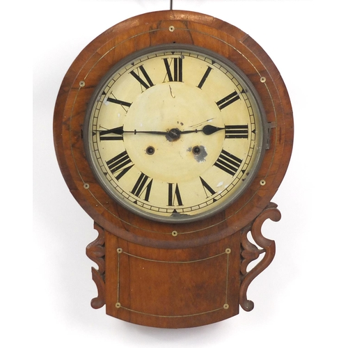2031 - Victorian rosewood drop dial wall clock, with brass inlay and Roman numerals, 57cm high...