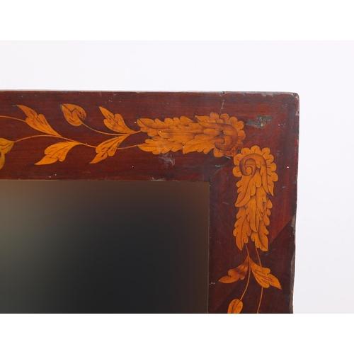 2050 - Dutch marquetry mirror inlaid with flowers, 122cm x 99.5cm...