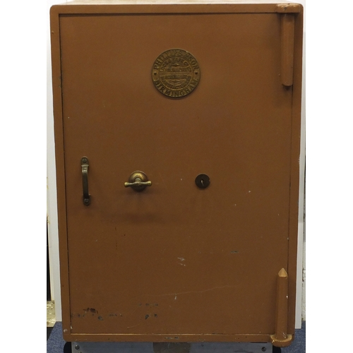 2021 - Victorian Philips & Son of Birmingham cast iron safe with key and brass plaque, 108cm H x 77cm W x 6...