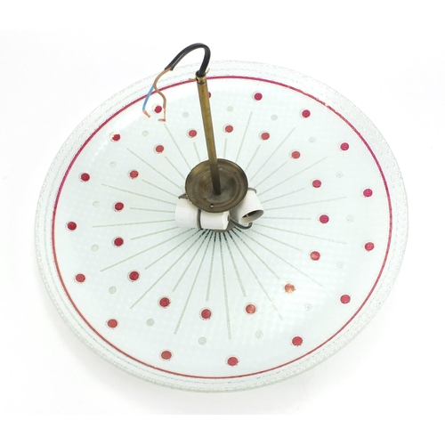 551 - 1970's circular glass light pendant, 47cm in diameter...