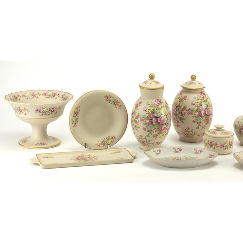 180 - Portuguese Ibis floral porcelain including vases and jugs...