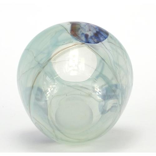 183 - Art glass vase inscribed Barry Cullen 82? 13cm high...