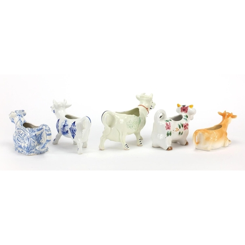 181 - Five Jersey cow creamerS including Delft, the largest 18.5cm in length...